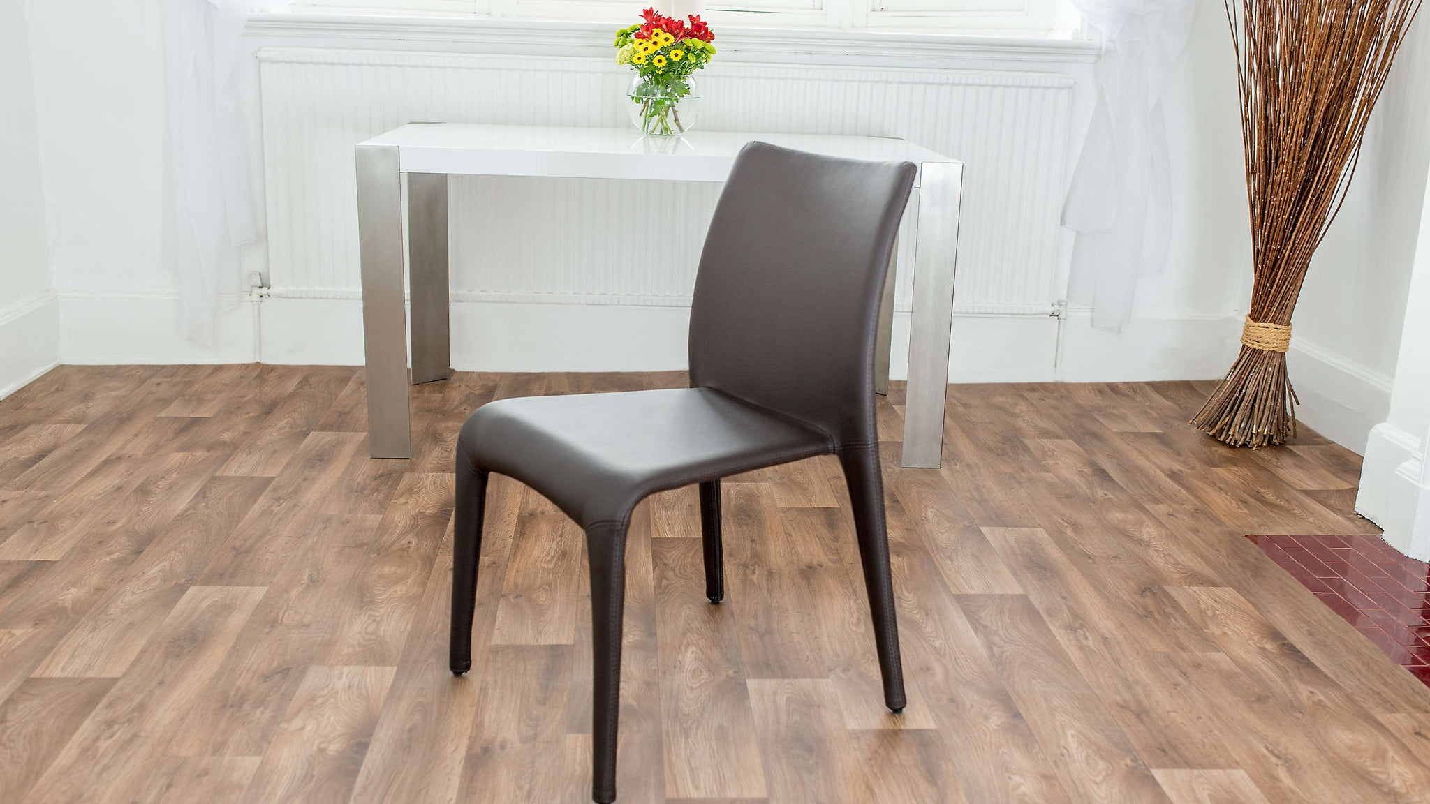 Brown Stackable Faux Leather Dining Chair
