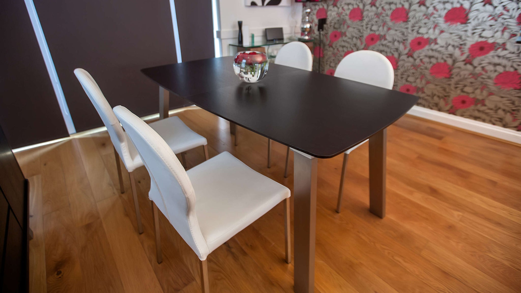 Modern Dark Wood Extending Dining Table
