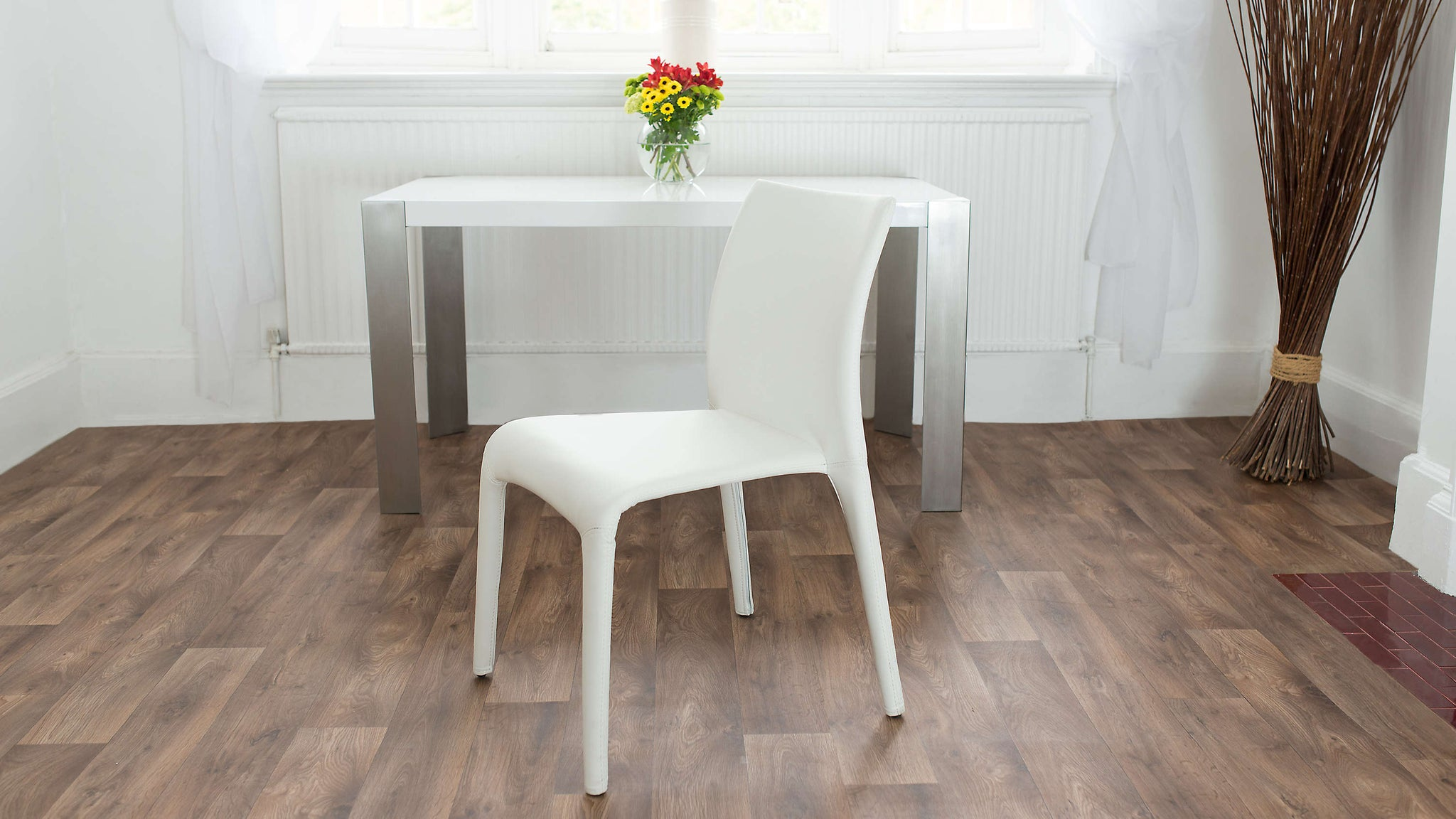 Contemporary White Leather Dining Chairs