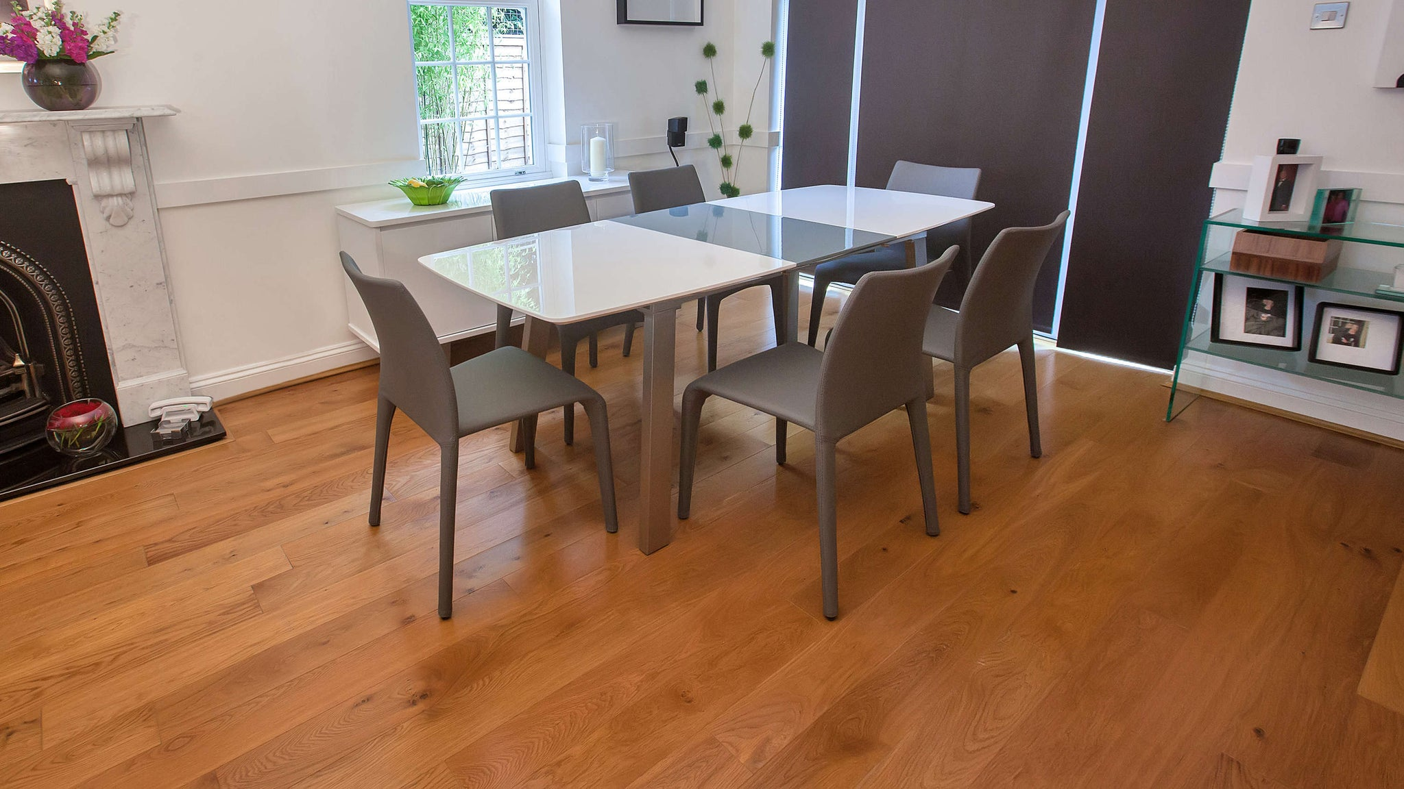 White Gloss Extending Table and Grey Leather Dining Chairs
