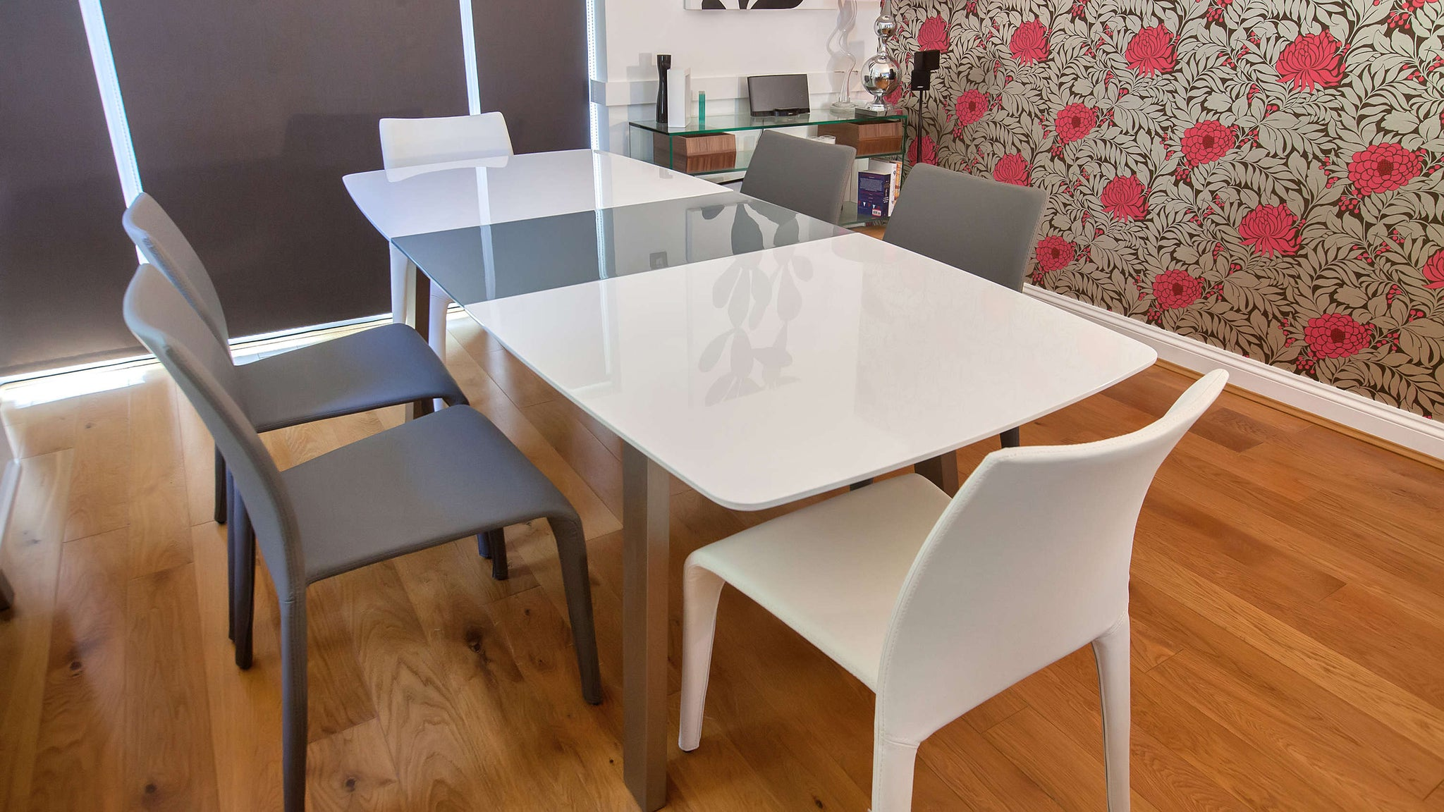 Mid-century Modern White and Grey Extending Dining Set