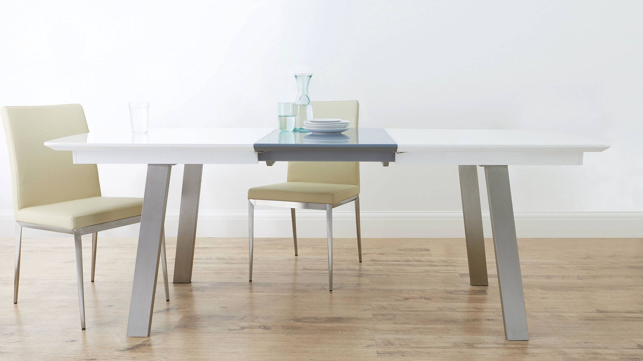 Grey and white gloss extending dining table