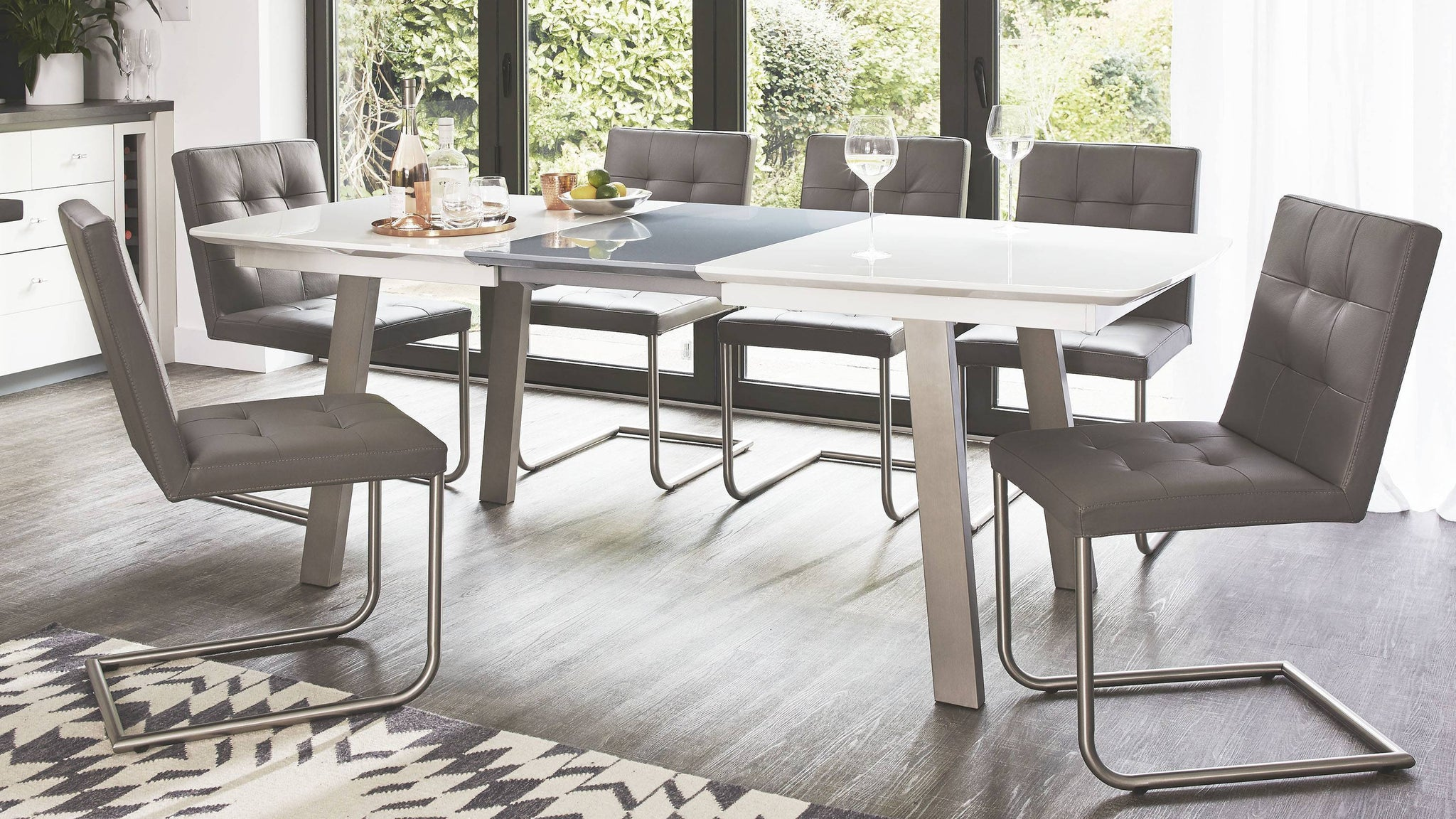 White and Grey Glossy Extending Dining Table