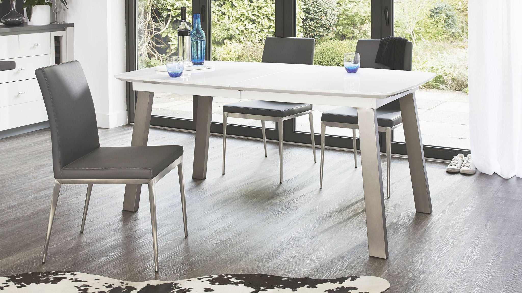 White Gloss Extending Dining Table with Brushed Metal Legs