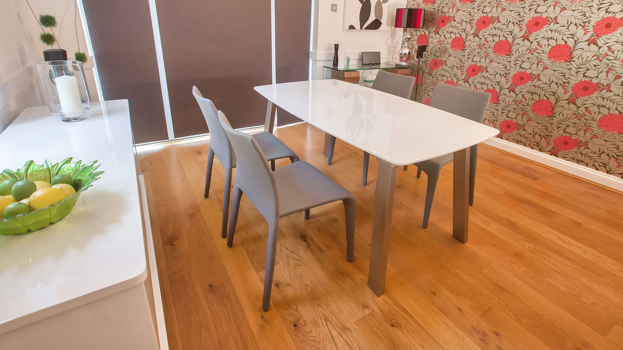 Mid-century Modern Grey and White Extending Dining Set