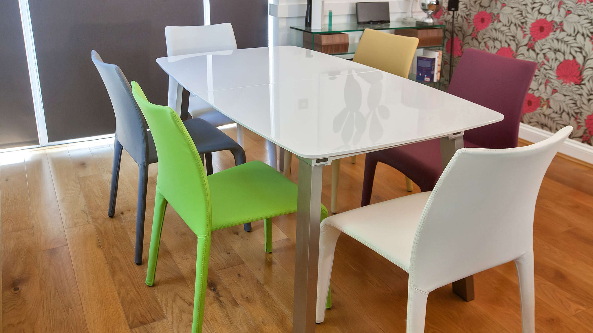 Large White Gloss Extending Dining Table and Stackable Dining Chairs