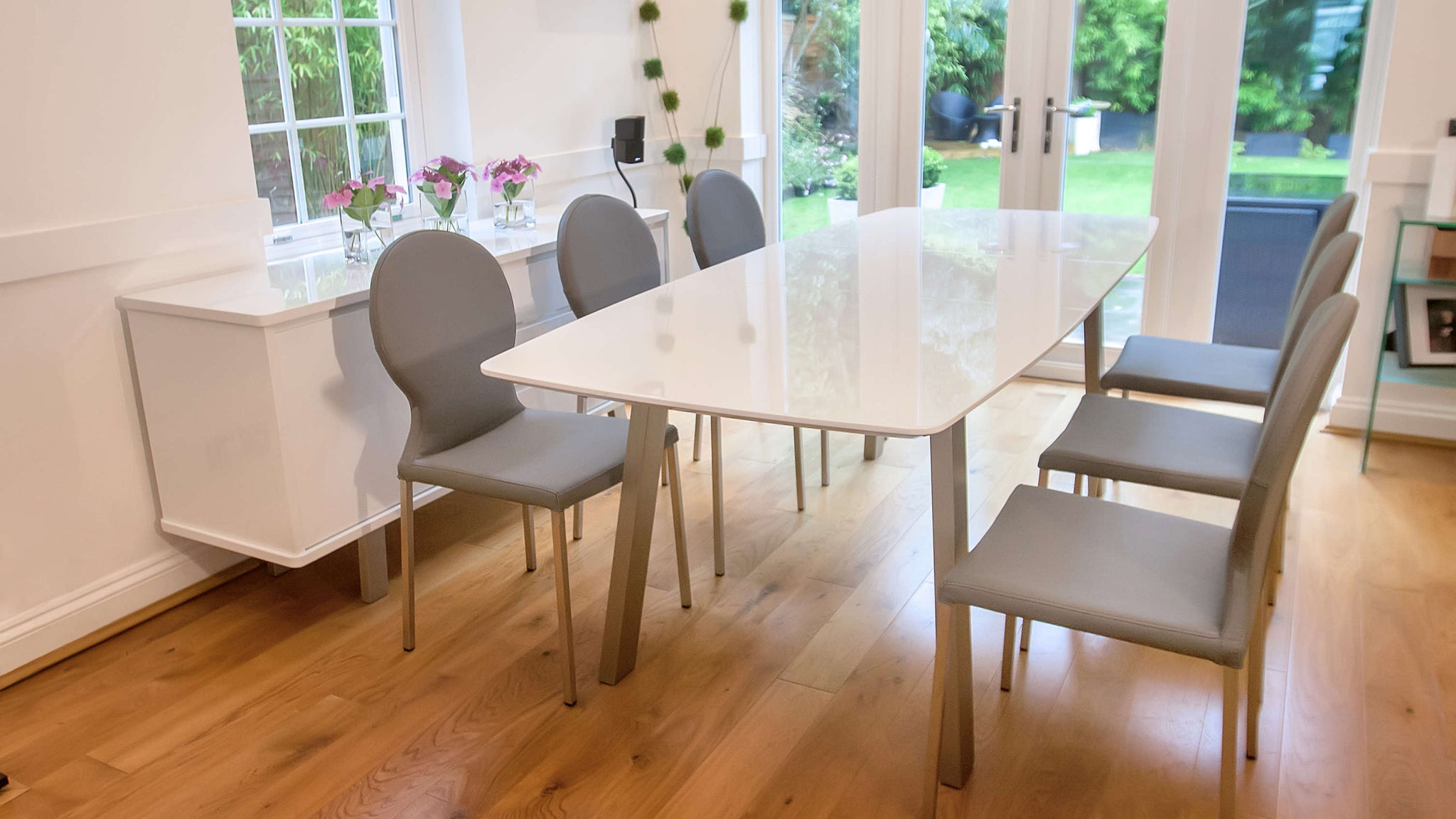 Modern Grey White Extending Dining Set