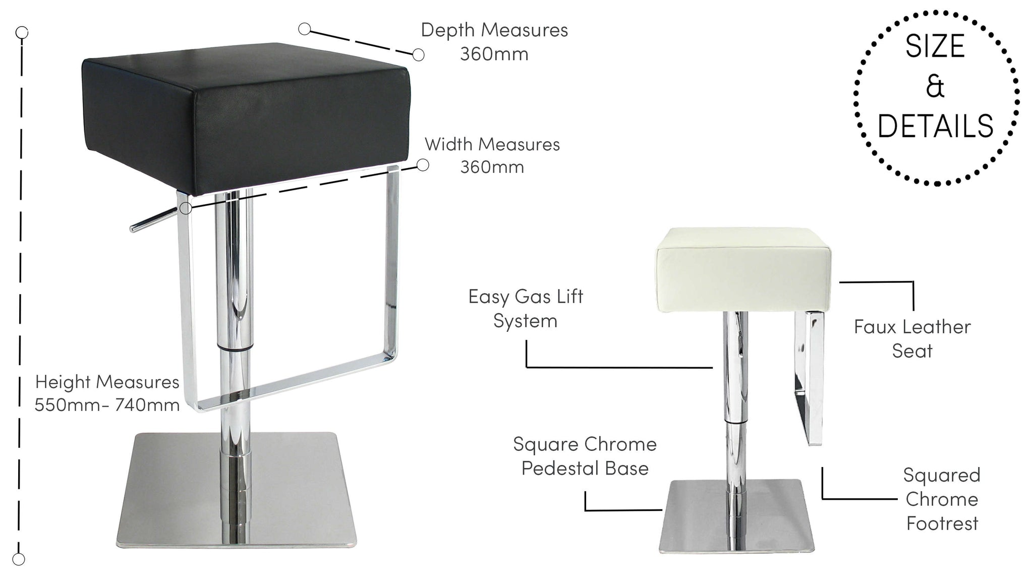 Modern Gas Lift Bar Stools UK Delivery