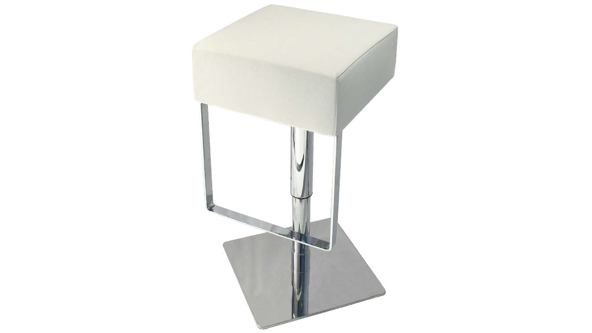 Stylish White Gas Lift Bar Stool with Foot Rest