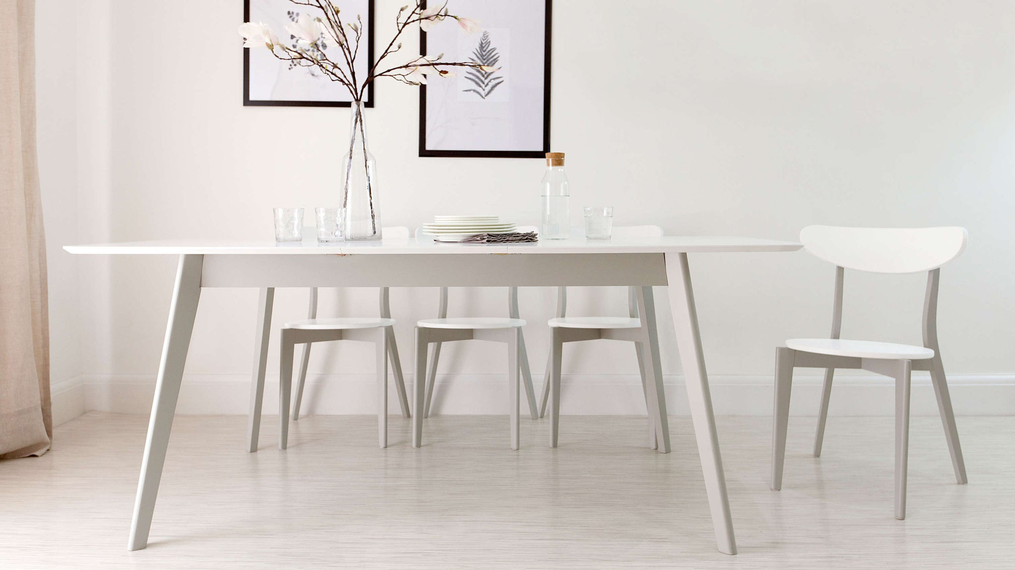 White and Grey Extending Dining Set