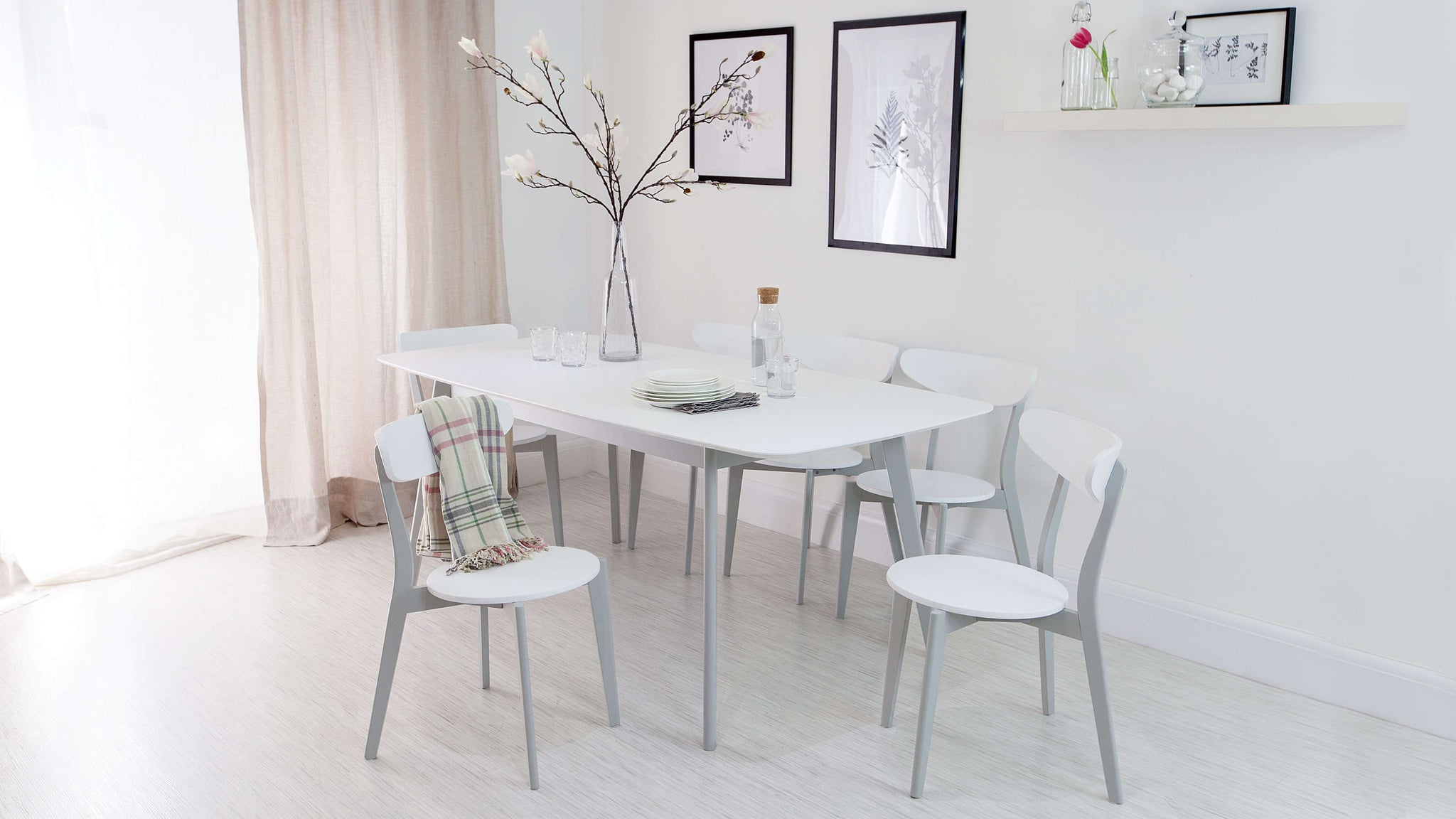 Modern Grey and White Extending Dining Set
