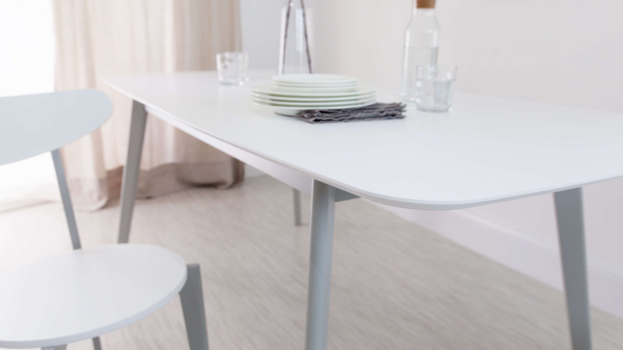 Easy Extending White Dining Table