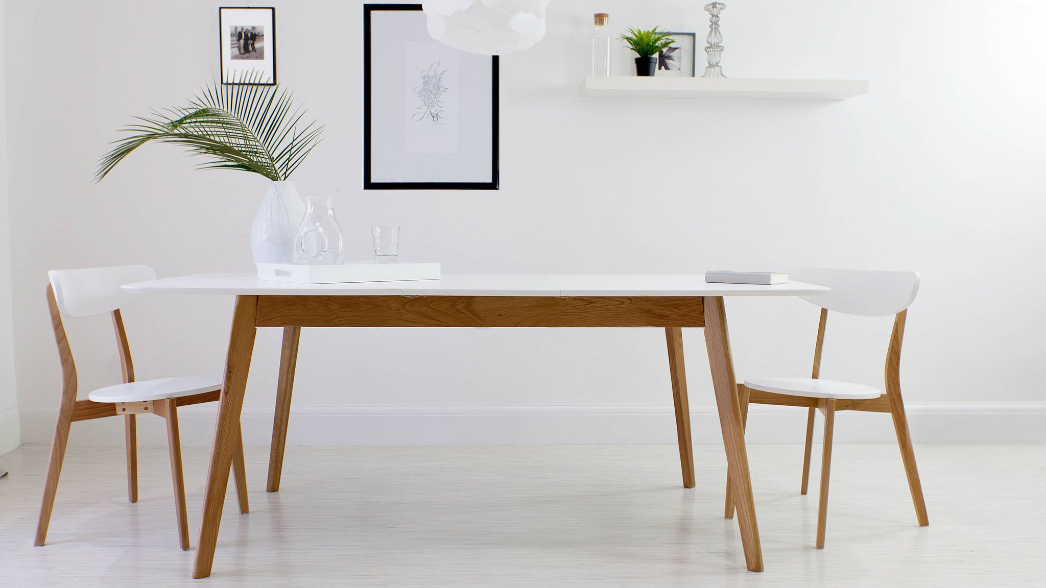 White and Solid Oak Extending Dining Set
