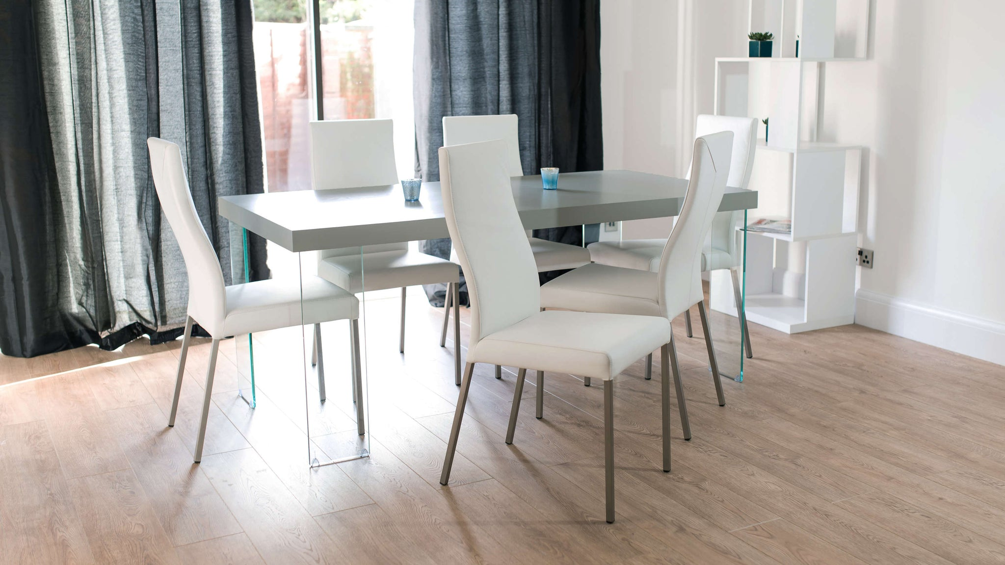 Contemporary White and Grey Floating Dining Set