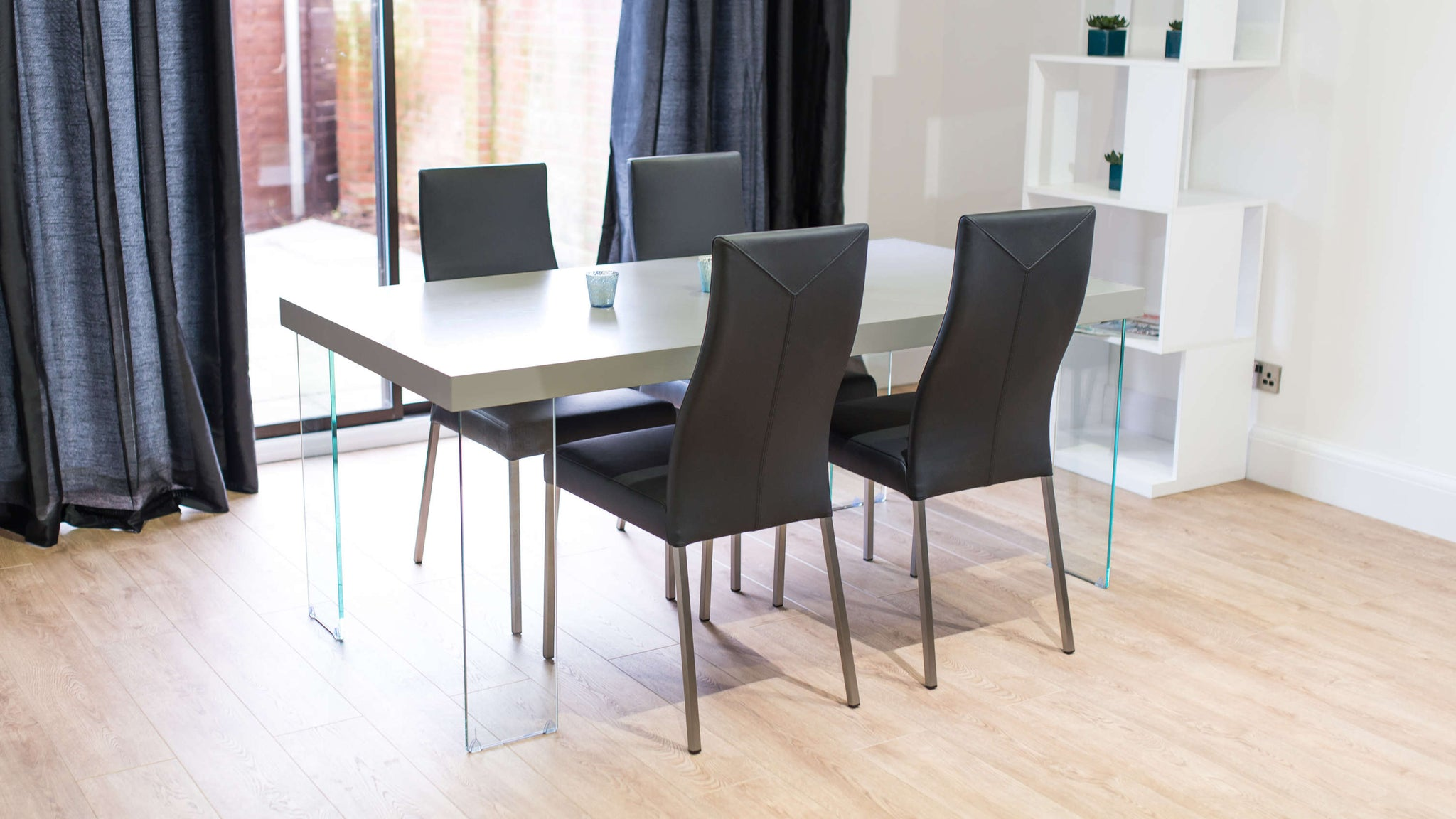 Modern Large Dining Table and Black Leather Dining Chairs