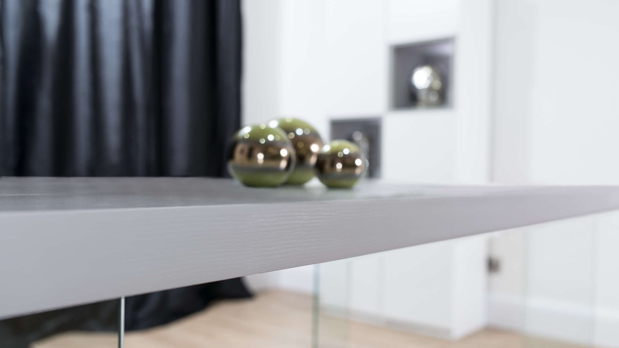 Grey Wooden Dining Table with Glass Legs