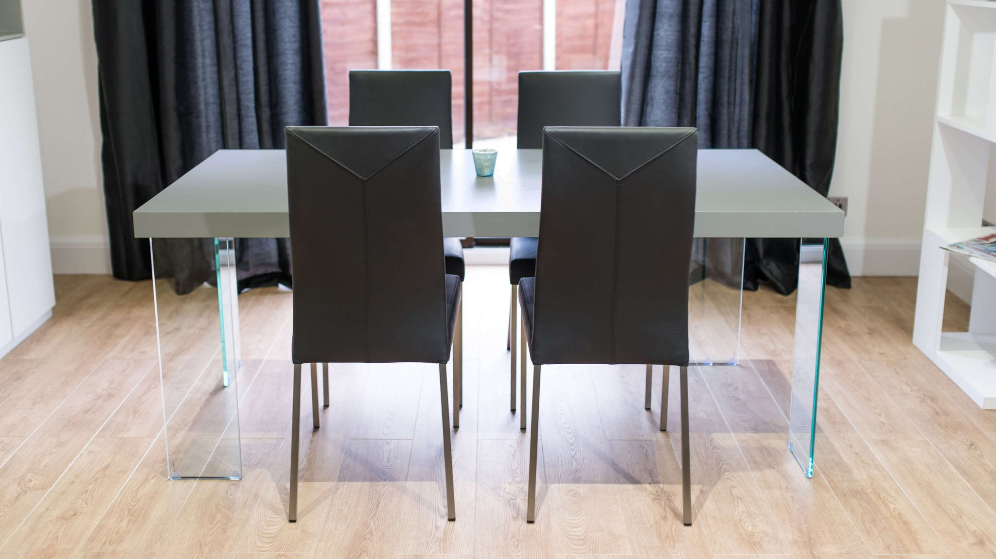 Large 4-6 Seater Dining Table and Black Dining Chairs