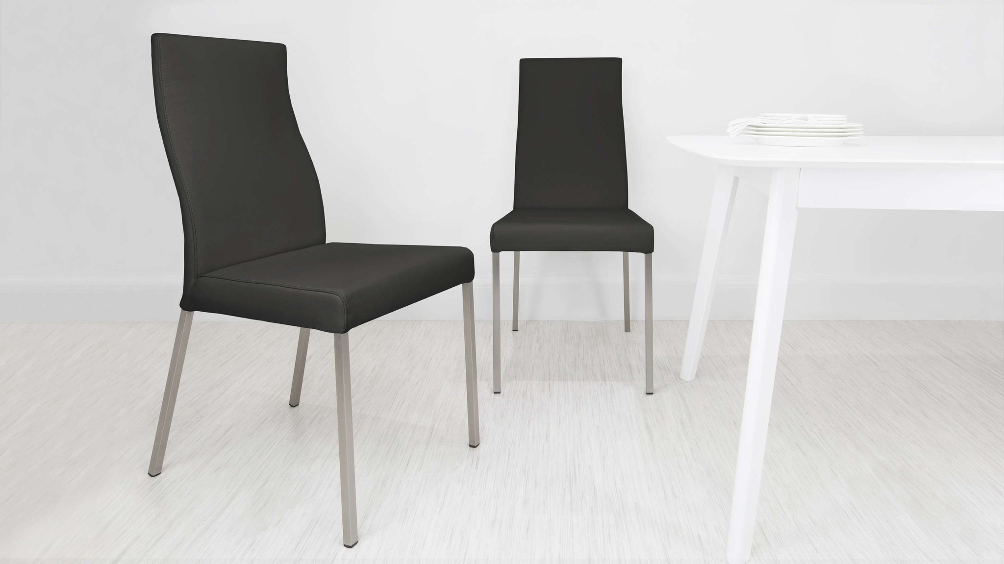 Black High Backed Leather Dining Chairs