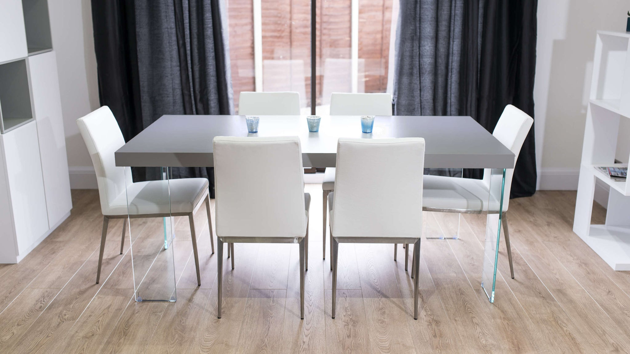 Contemporary White and Grey Floating Dining Table