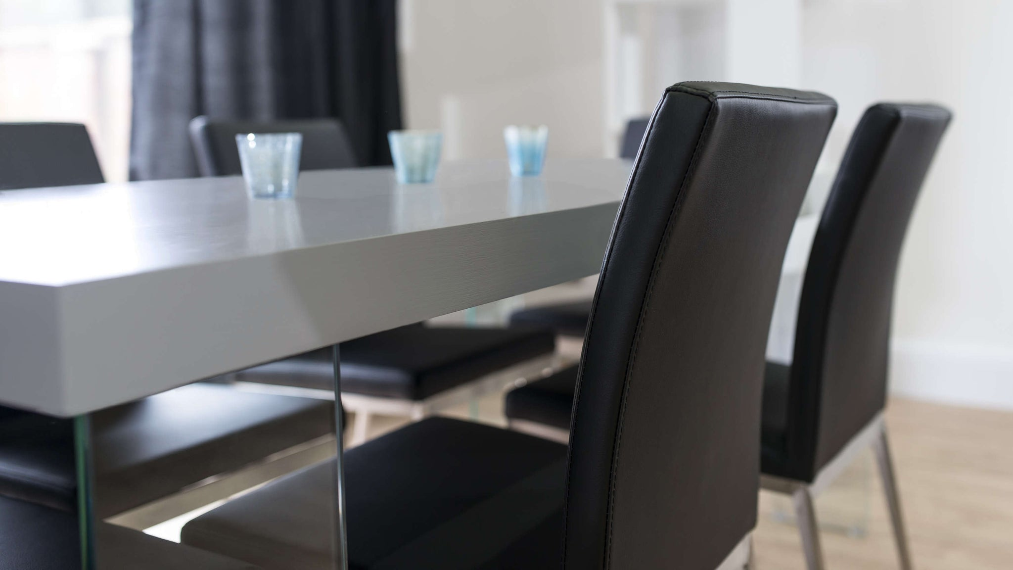 Modern Black Dining Chairs and Grey Dining Table