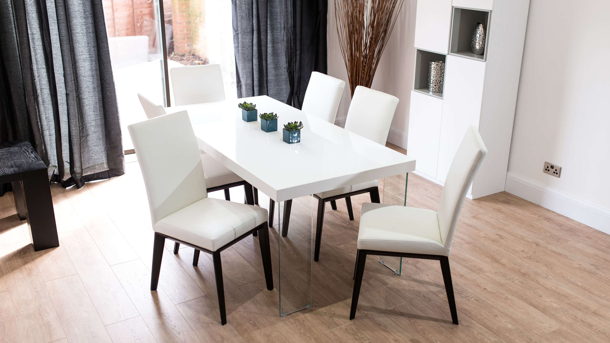 White Real Leather and White Gloss Dining Set