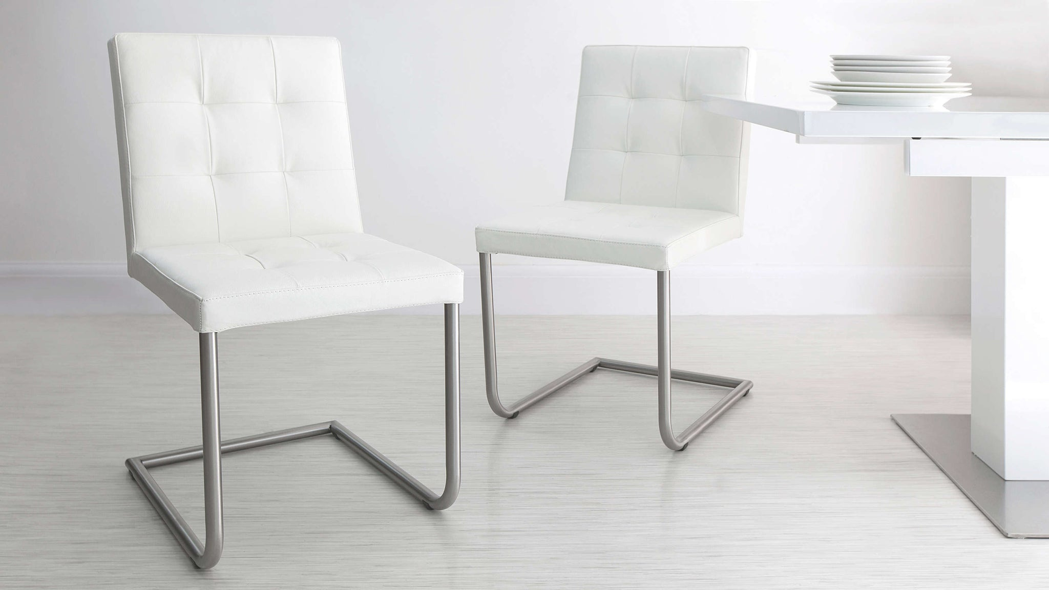 Modern White Cantilever Dining Chairs