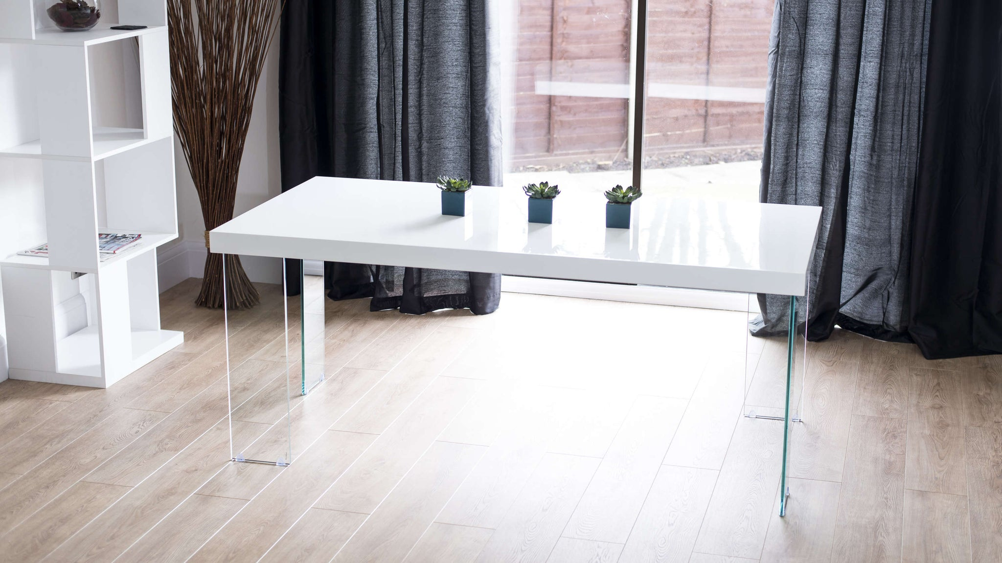 White Gloss Dining Table with Glass Legs