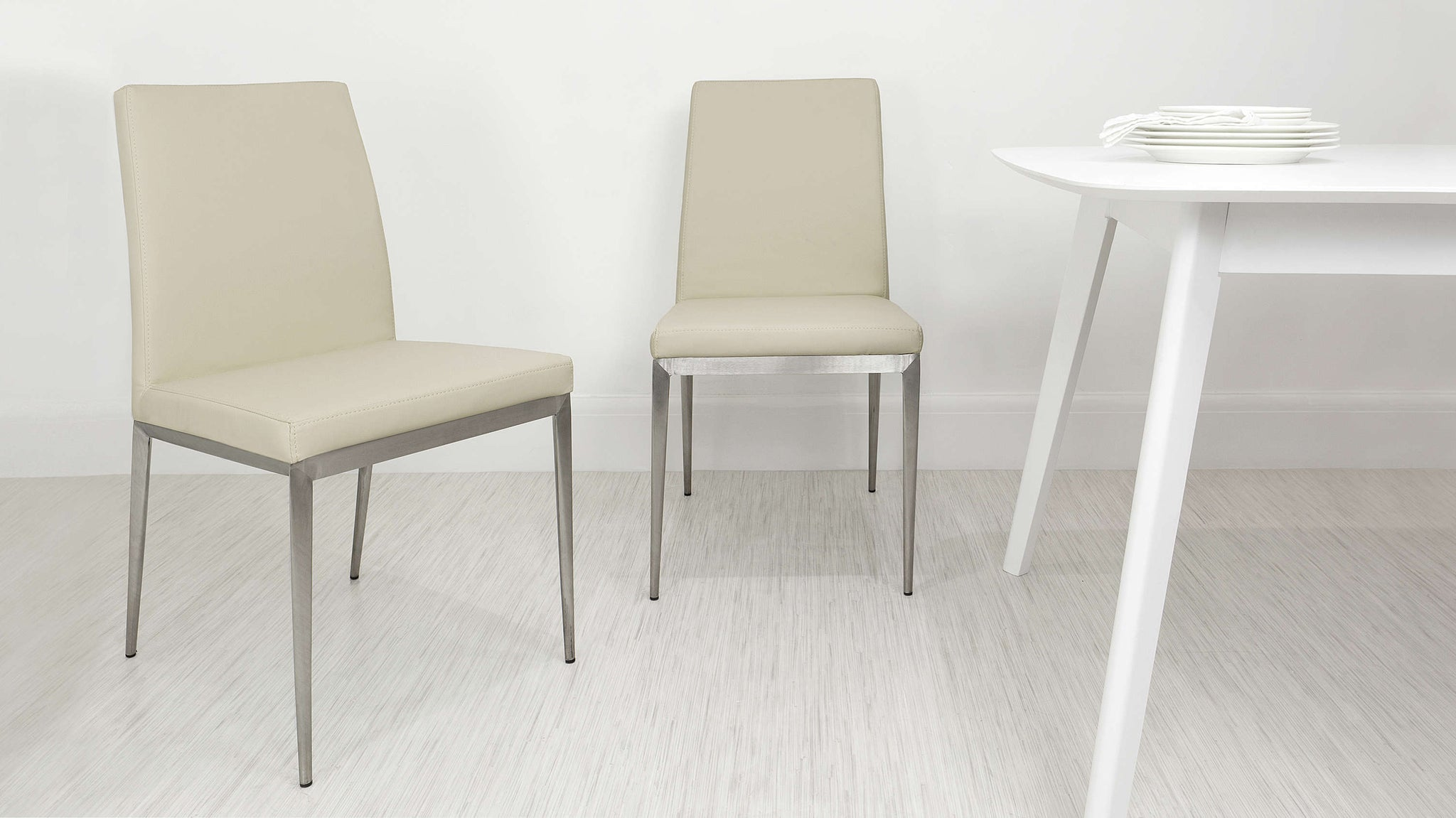 Modern Beige Dining Chairs with Metal Legs