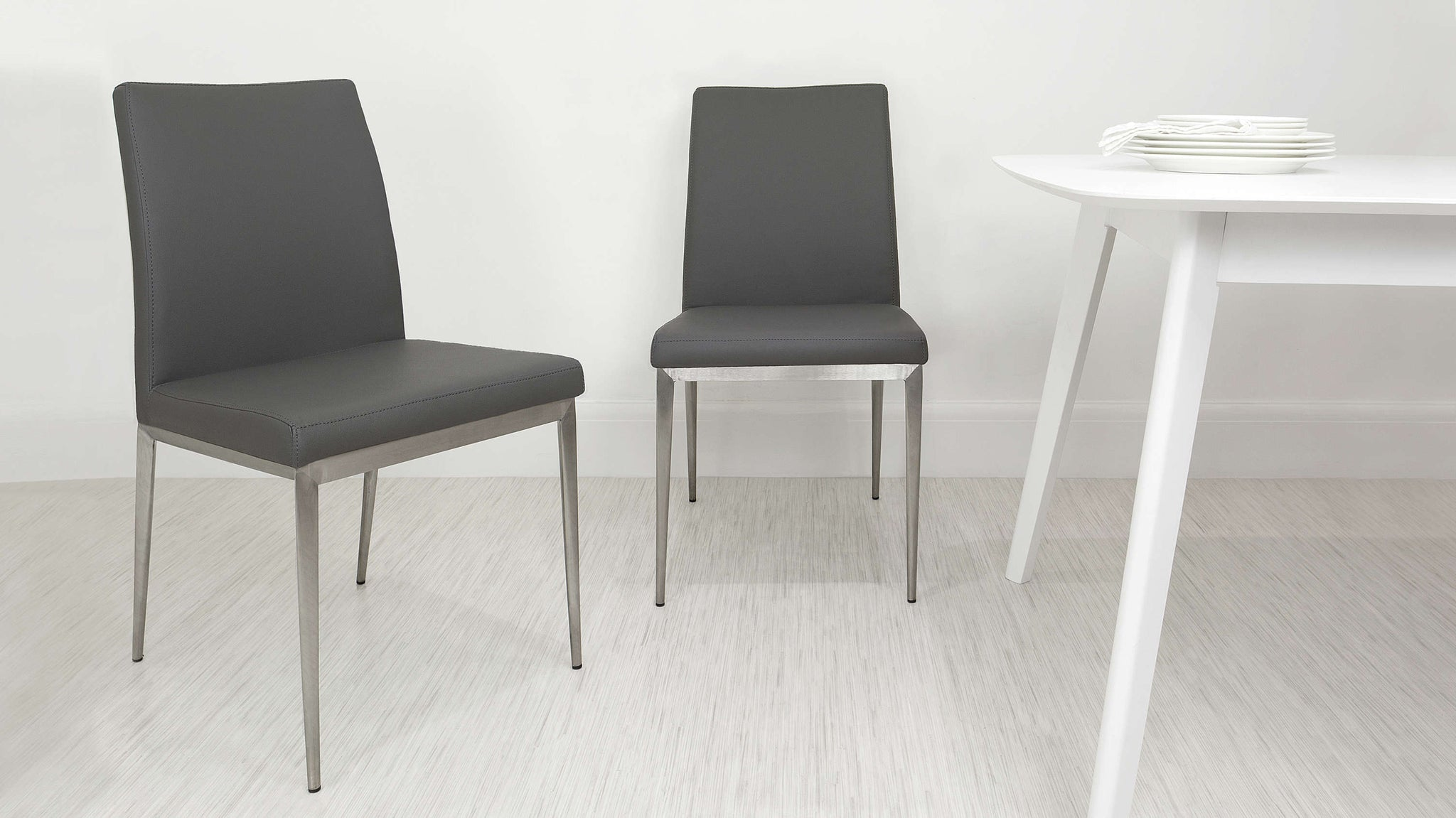 Modern Grey Dining Chairs with Metal Legs