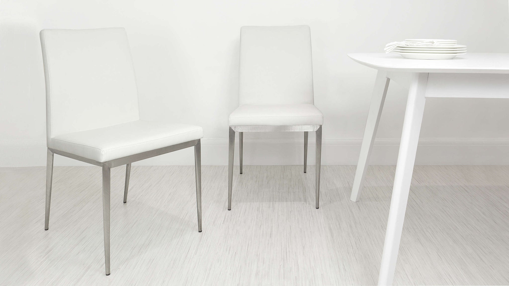 Modern White Dining Chairs with Metal Legs