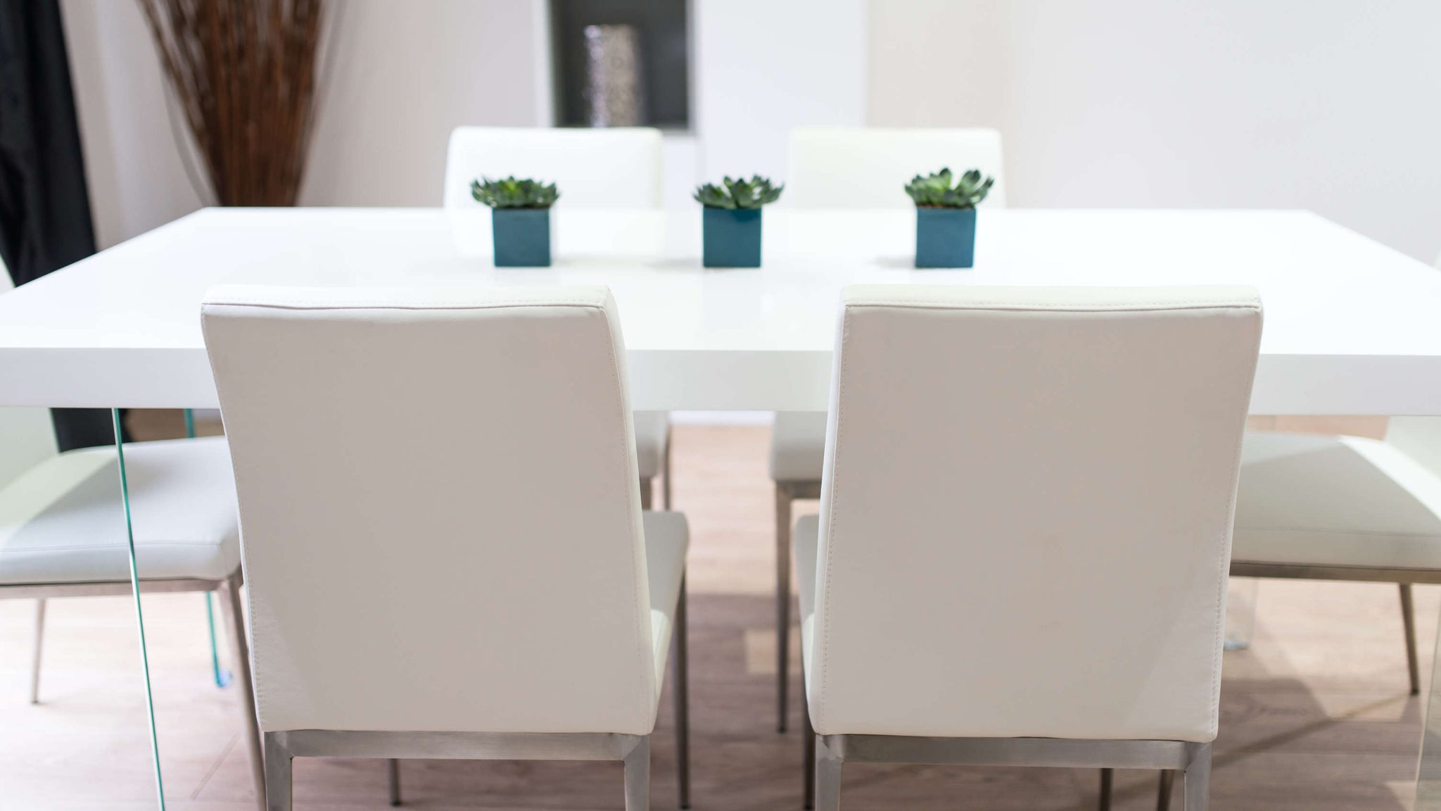White Gloss and Faux Leather Dining Set