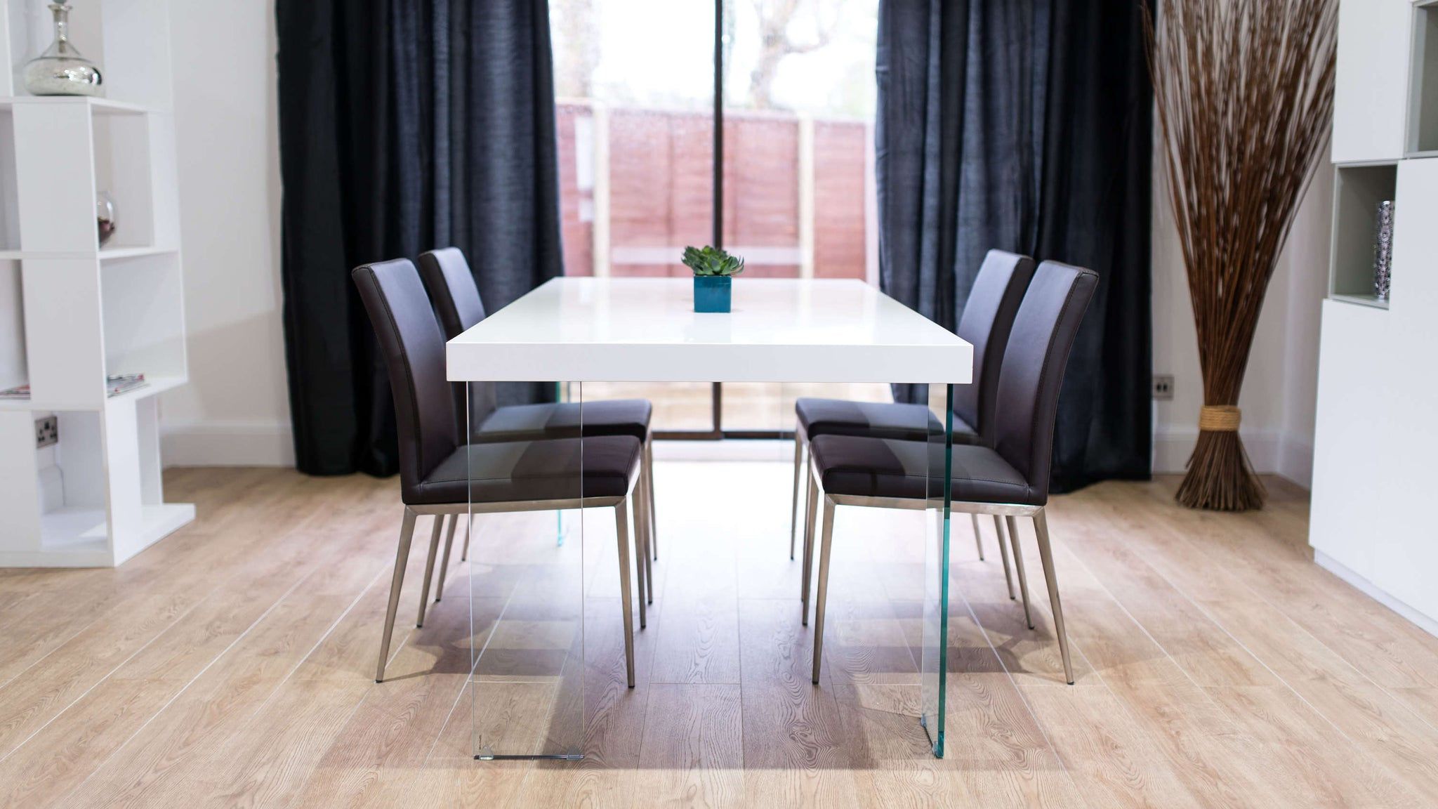 Large Rectangular White Gloss Dining Table and Brown Chairs
