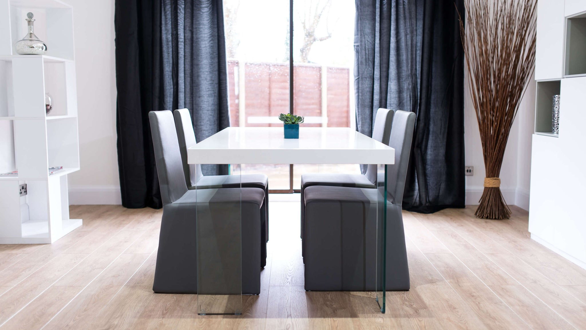 Modern White Gloss Dining Table and Grey Dining Chairs