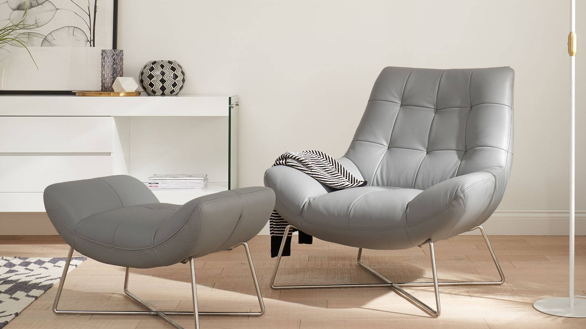 Canio Soft Grey Faux Leather Occasional Chair