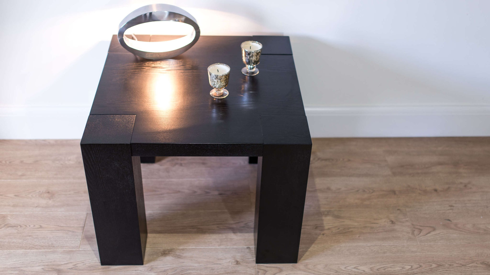 Contemporary Small Black Wood Veneer Lamp Table