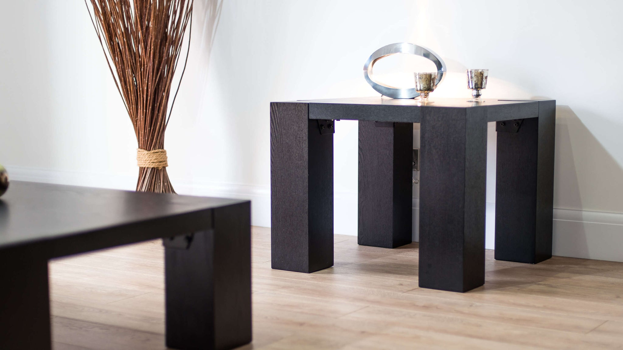 Modern Black Wood Lamp Table
