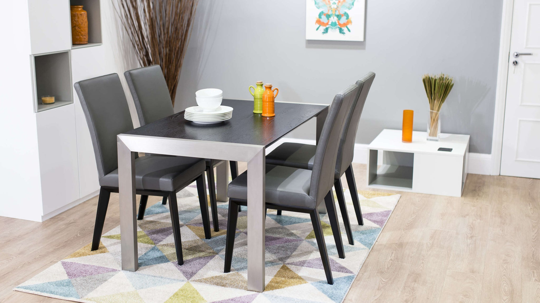 Grey Real Leather Dining Chairs and Brushed Metal Dining Table