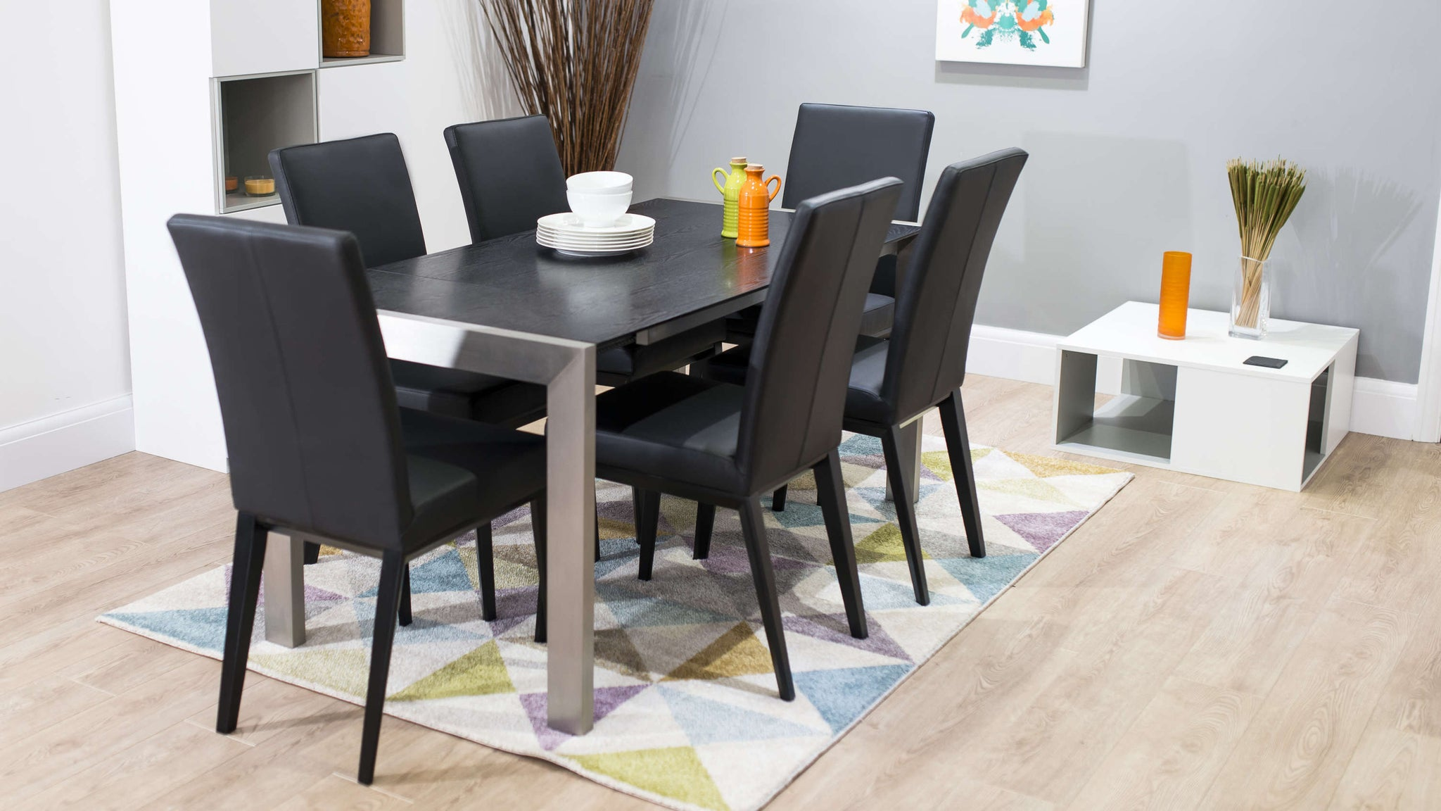 Modern Black Ash Extending Dining Table and Chairs