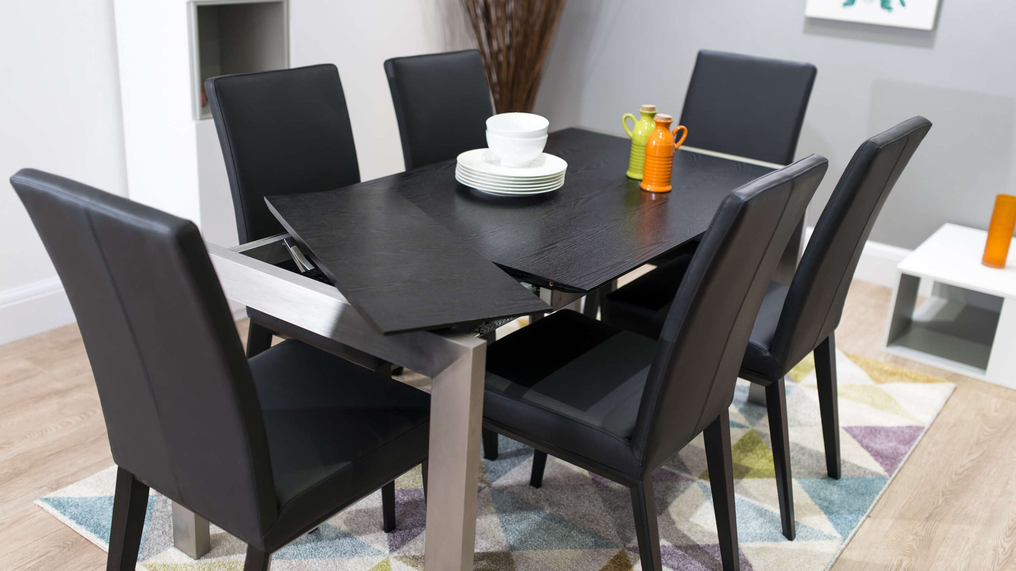 Real Leather Dining Chairs and Easy Extending Dining Table
