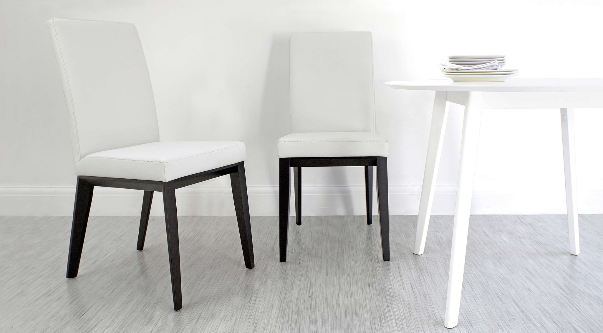 Stylish White Real Leather Dining Chairs