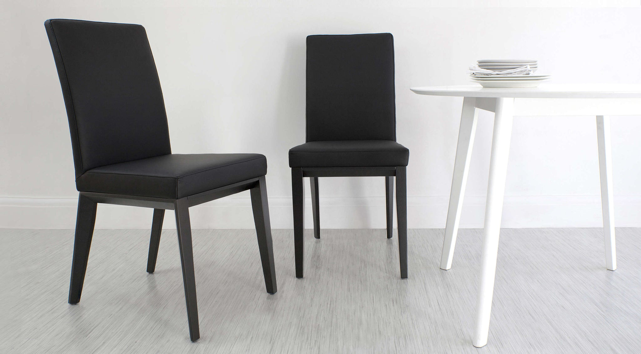 Black Real Leather Modern Dining Chairs