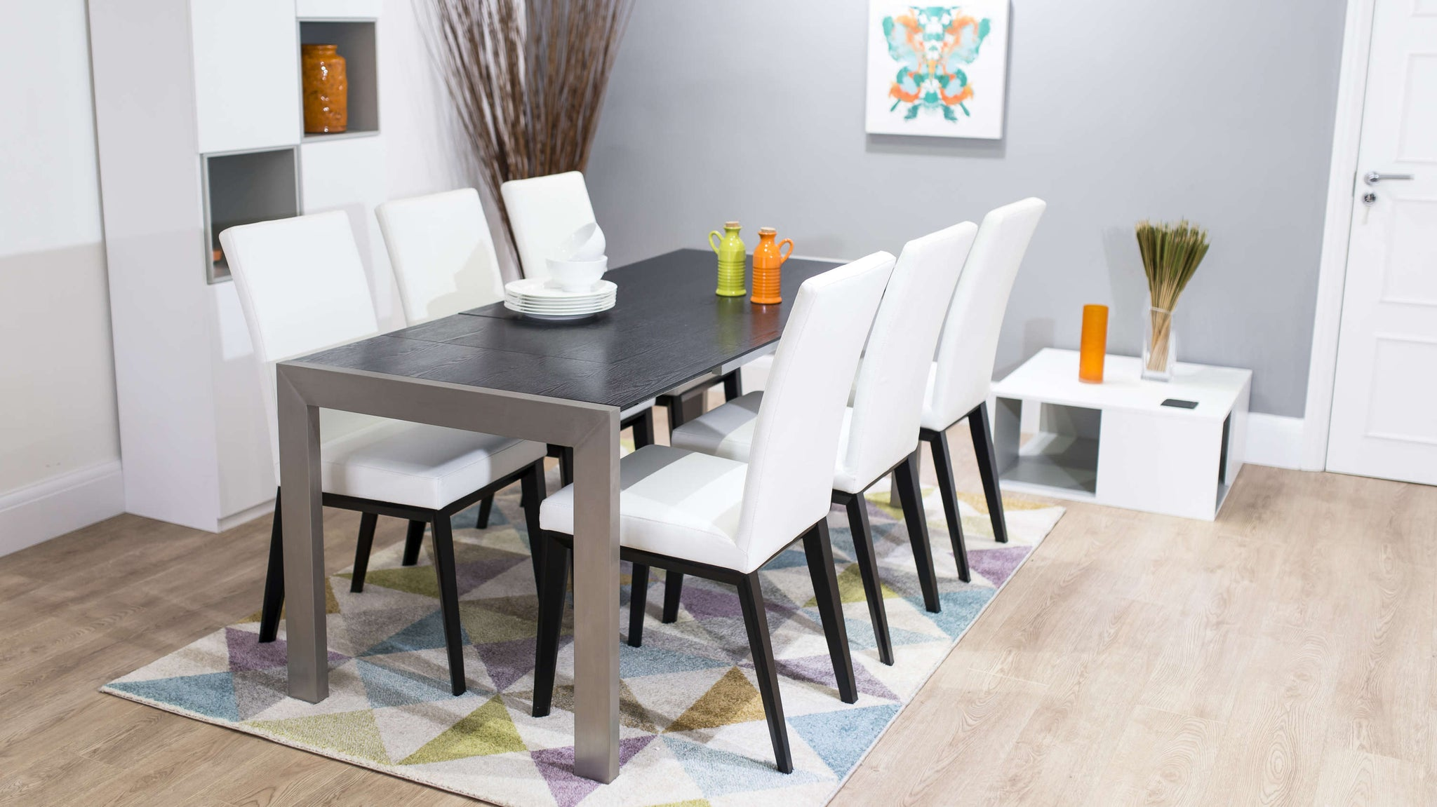 Black and White Real Leather Dining Chairs and Extending Dining Table