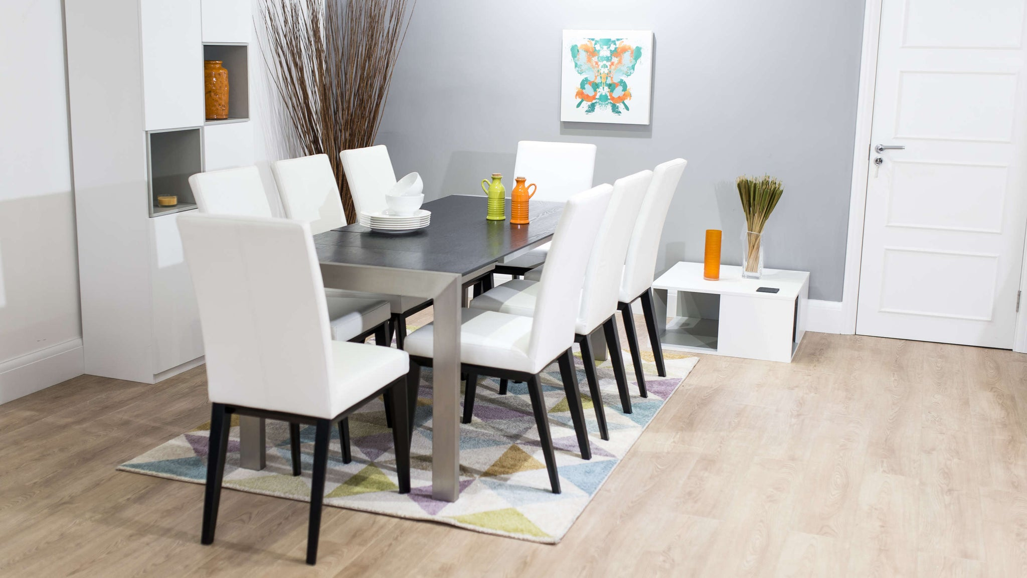 Large Double Extending Dining Table and White Dining Chairs