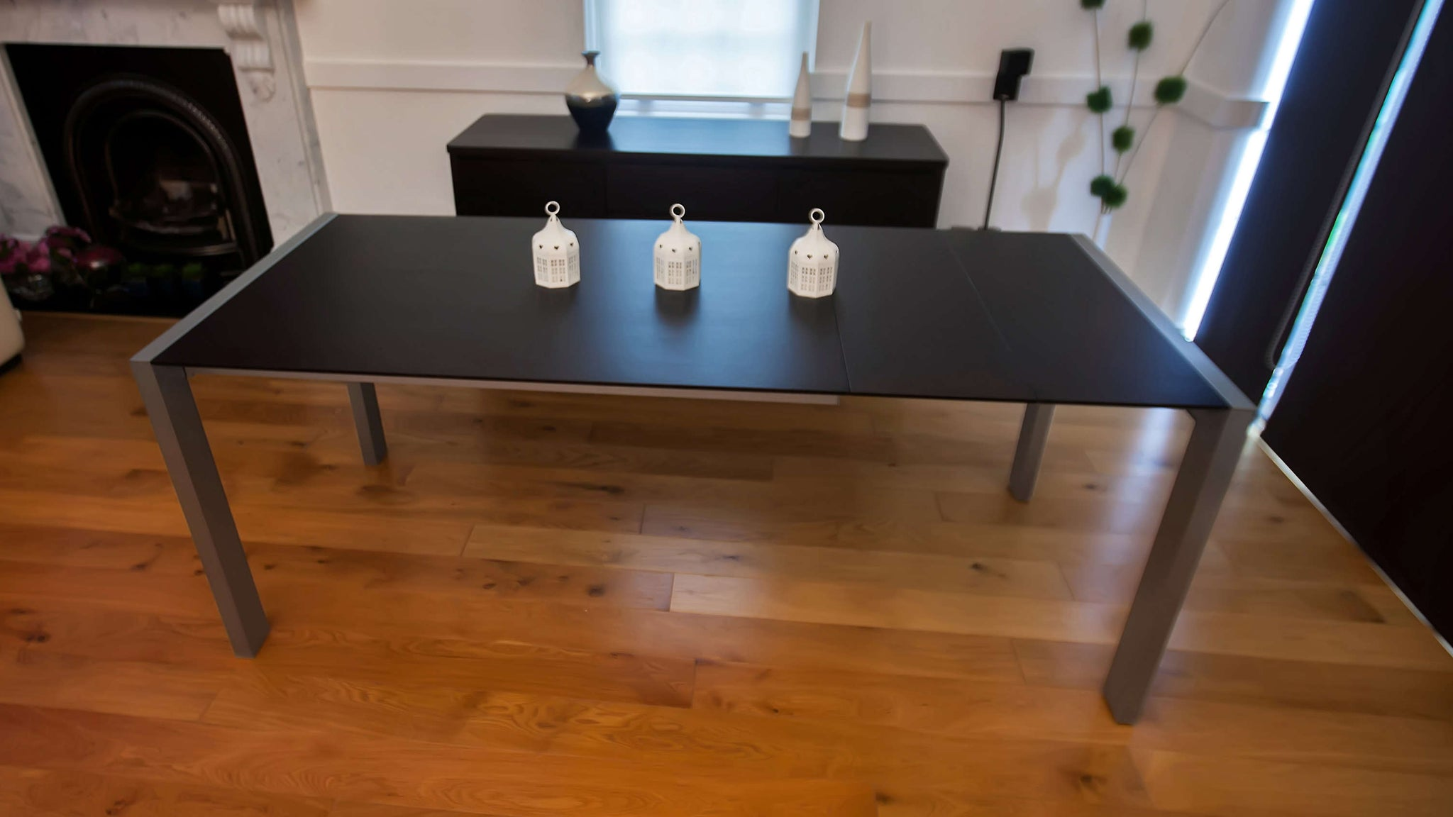 Matt Black Double Extending Dining Table