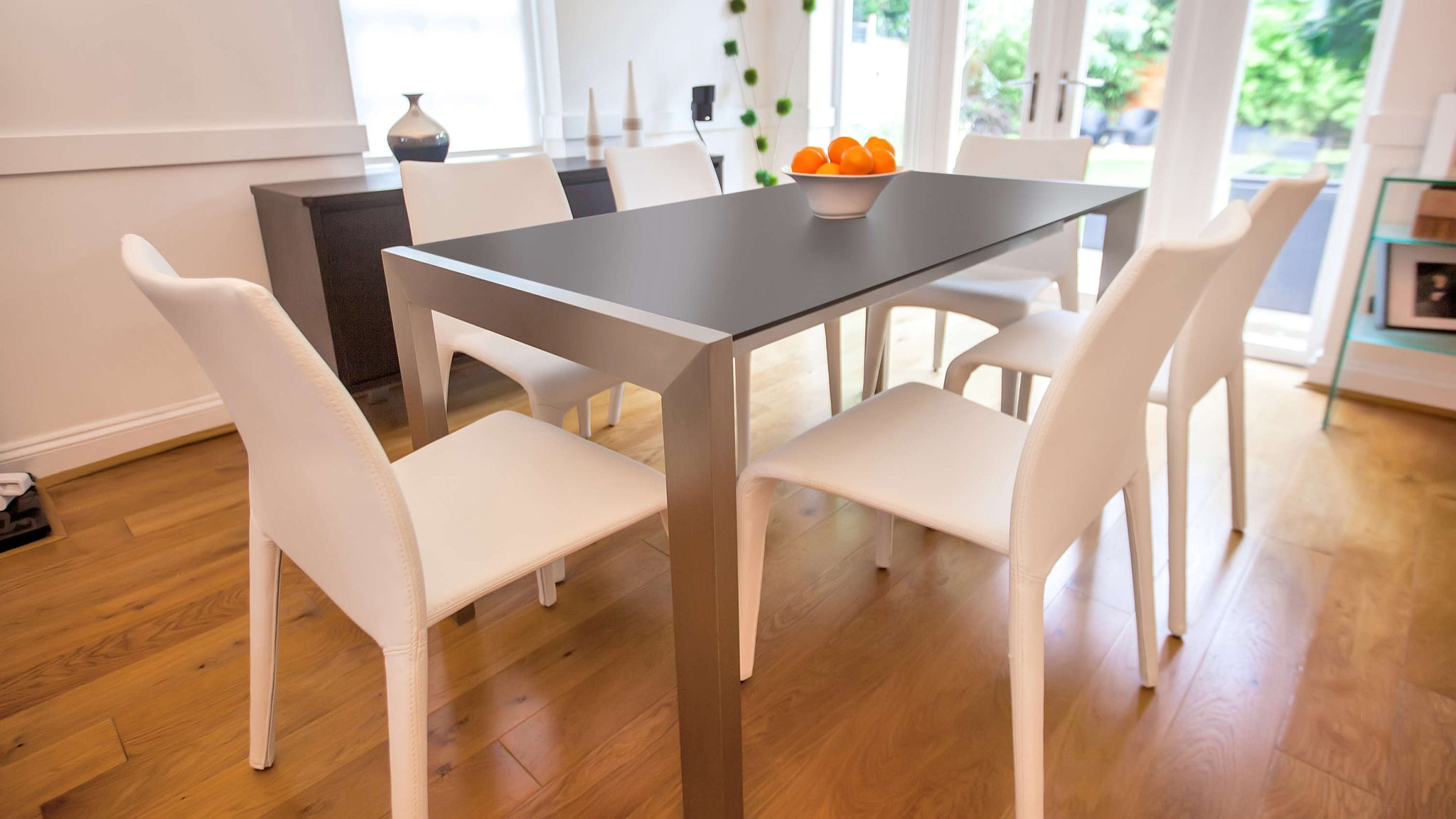 Contemporary Black and White Extending Dining Set UK