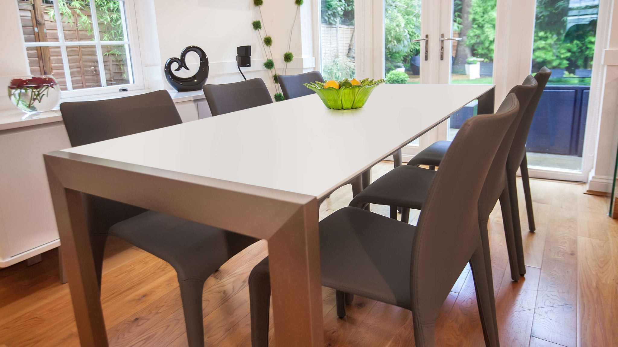 Stackable Dining Chairs and Matt White Extending Dining Table