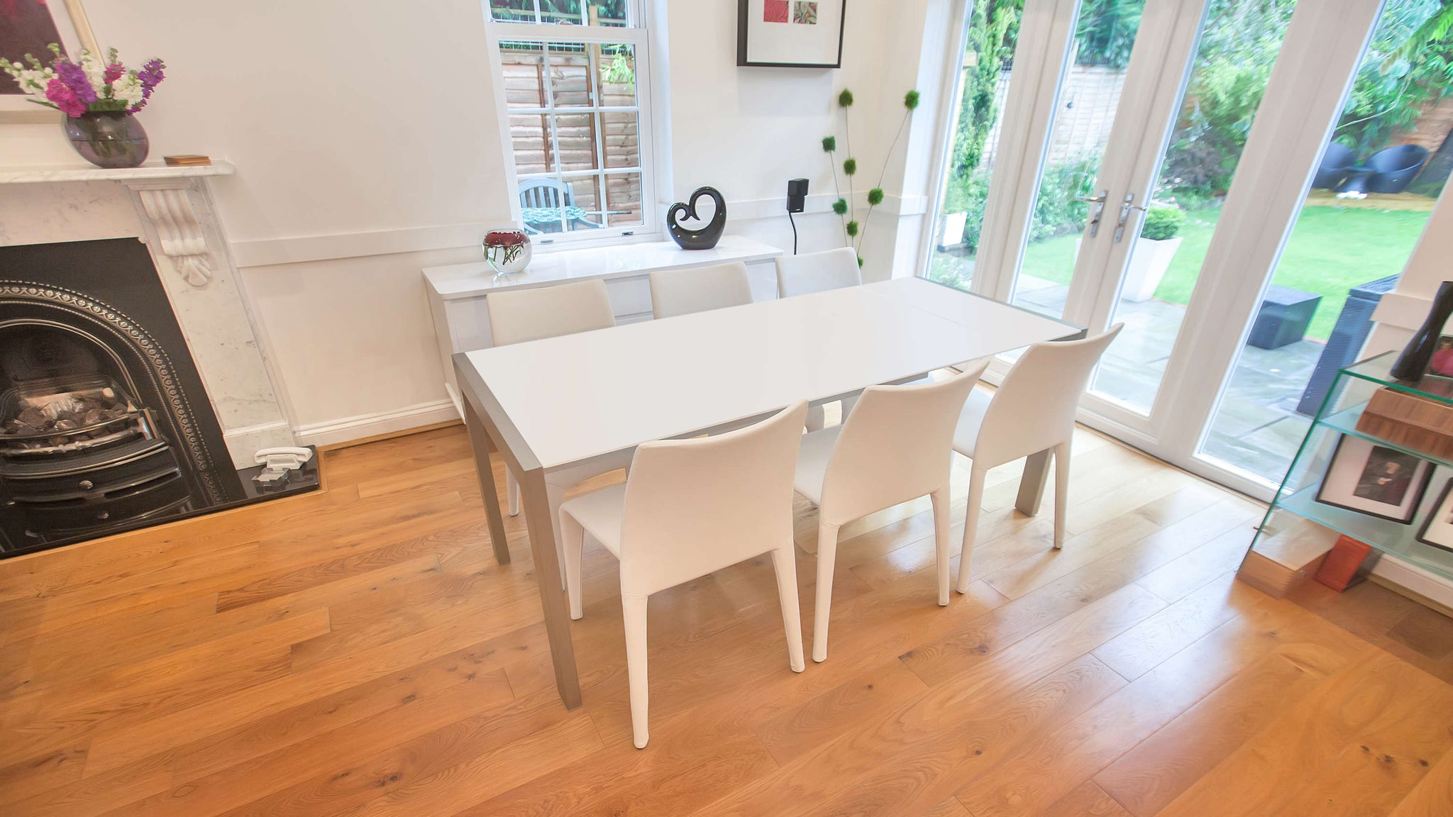 4-8 Seater Dining Table and White Stackable Dining Chairs