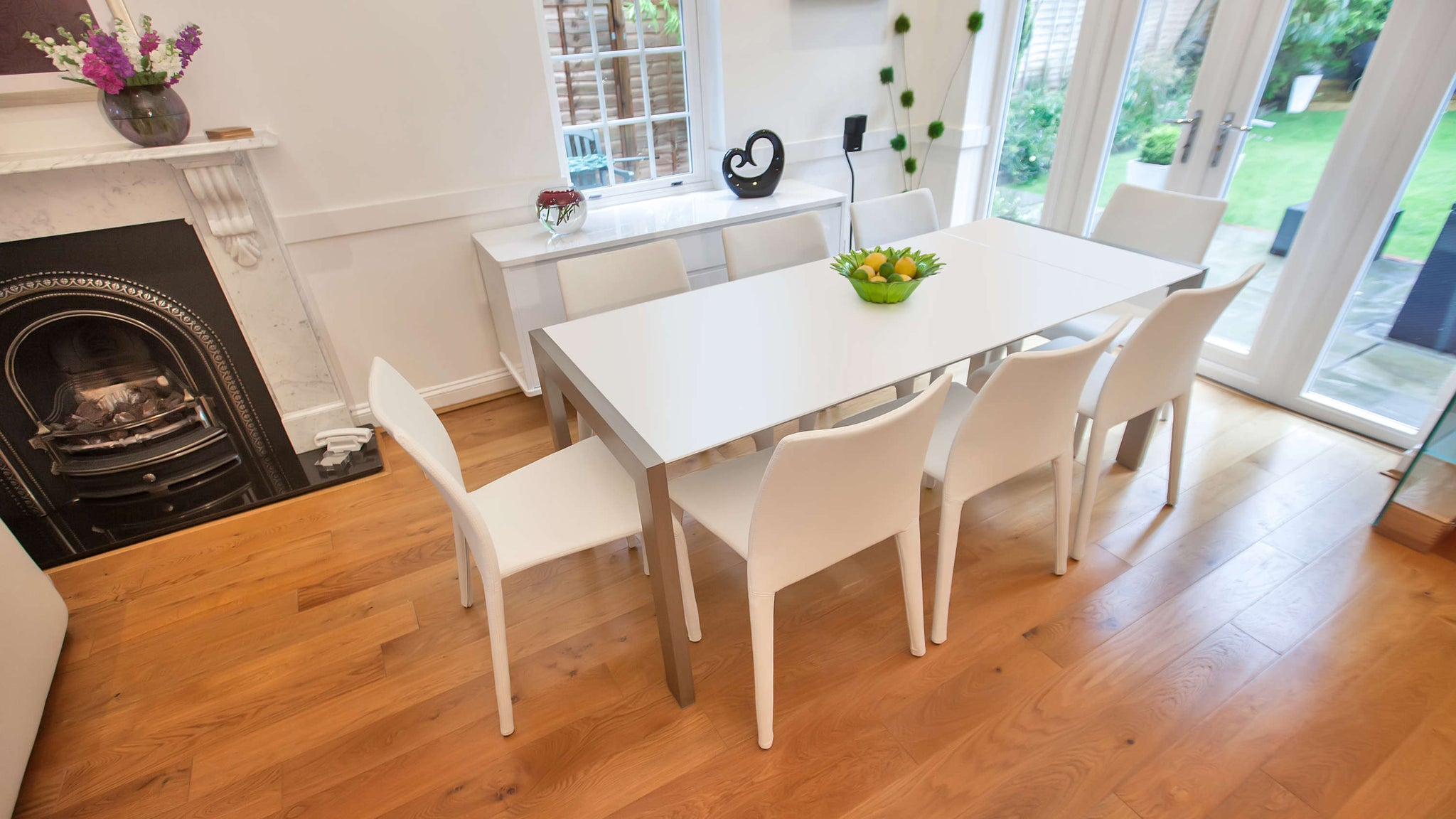 Large Matt White Dining Table and White Stackable Chairs