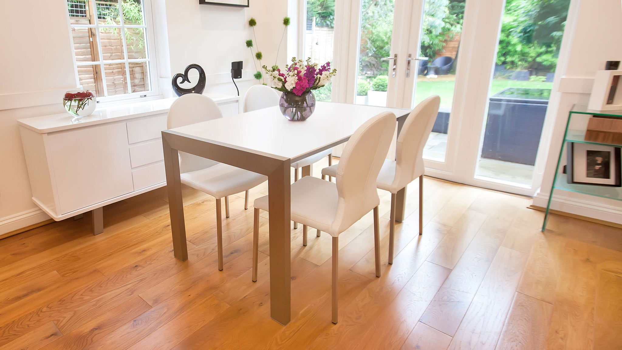 Matt White Dining Table and Modern Dining Chairs
