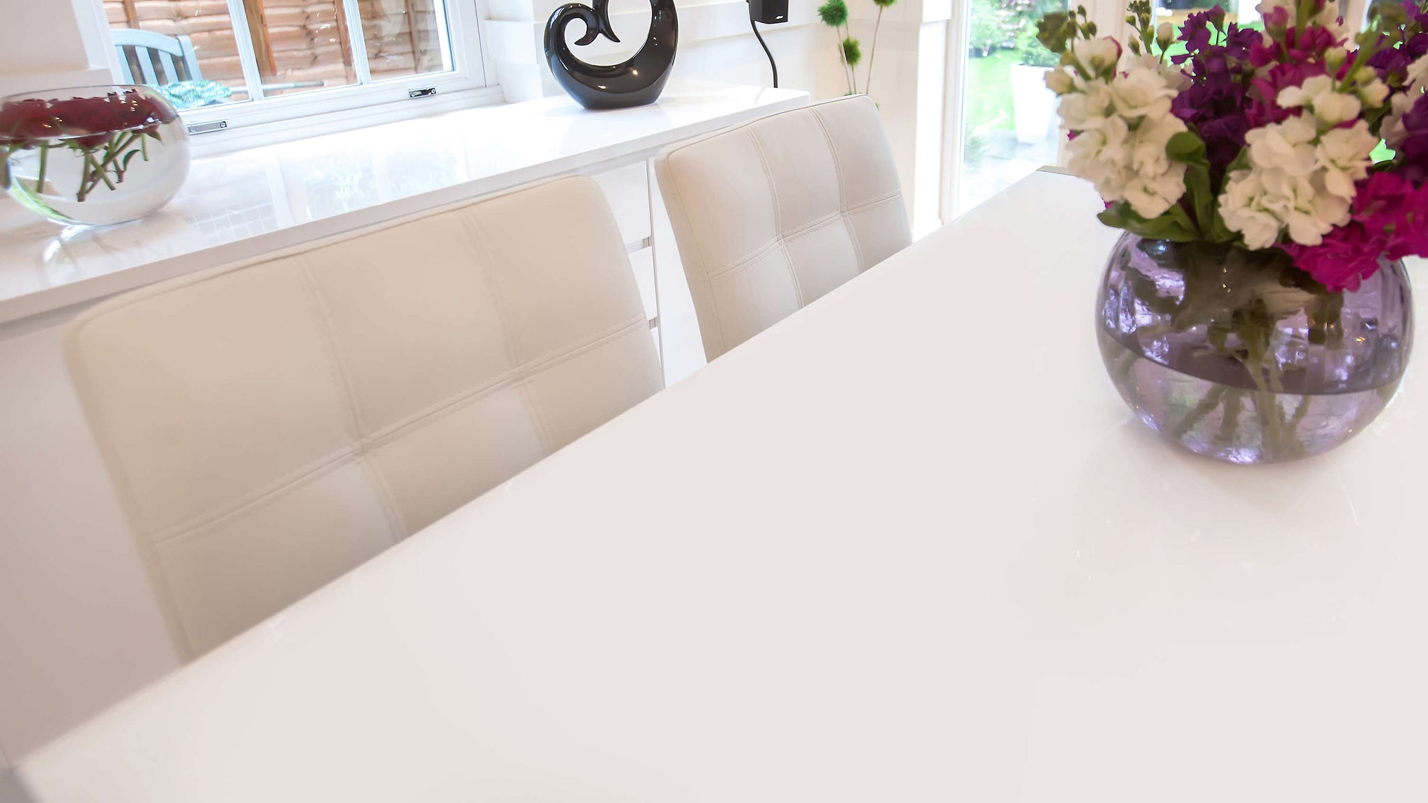 White Extending Dining Table and White Chairs